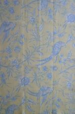 SCALAMANDRE Aviary Birds Floral Linen Blue Yellow Remnant New