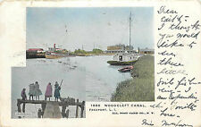 Crabbing in Woodcleft Canal ~FREEPORT - LONG ISLAND NY~ Scarce Postcard, 1905