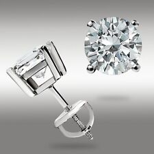 14k White Gold 1.00 Ct Round Stud Earrings w/Screwback Pierced Holiday Gift New