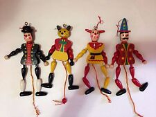 Wooden Pull String Toy Jumping Jacks SET OF 4 Jester, Cat, Clown, Man Ornaments