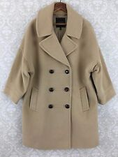 Talbots 12 Tan Beige  Wool Cashmere angora Blend 3 Button Coat jacket 3/4 sleeve