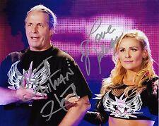 BRET HART & NATALYA WWE SIGNED AUTOGRAPH 8X10 PHOTO #2 W/ PROOF