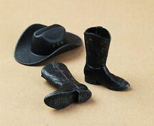 "COOMODEL 1/6 Scale Black Cowboy Hat Boots ShoeSet For 12"" HT Action Figure"