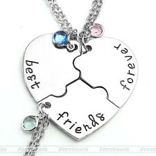 Charm 3pcs/set Puzzle Heart Best Friends Forever and Ever Pendant Necklace Gift