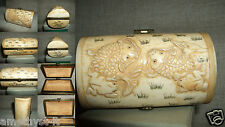NETSUKE CHINA SCATOLA JAR BOX CASE TIN CAN RANA PESCE FISH FROG  OSSO YAK BONE
