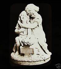 Glass Magic Lantern Slide STATUE OF TWO YOUNG GIRLS C1890