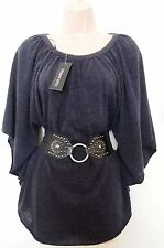 URBAN DIVA BLACK BELTED CAPE CURVY FIT JUMPER WARM  BLOUSE T SHIRT TOP VEST M L