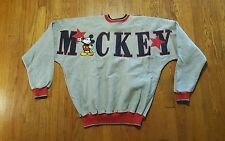 Mickey Mouse Sewn Spell Out Mickey sweatshirt LARGE gray VTG 90s rare made in US