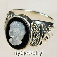 Mother Pearl/Marcasite onyx cameo .925 sterling Silver Ring Size 8 (RI18)