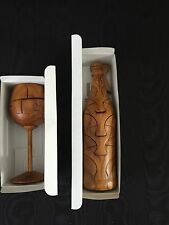 Wood Wine Glass Puzzle & Wine Bottle on Stand Puzzle - NIB