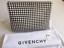 GIVENCHY Clutch Pouch Bag Woven Two Sides Leather Lace White Black