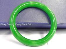 Chinese Oriental Natural Faux Green Jade Stone Round Bangle Bracelet Jewelry #MD