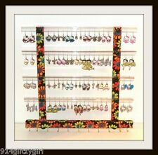 """TEEN"" GG Earring Holder & Jewelry Organizer ORANGE & LIME GREEN FLORAL FABRIC"