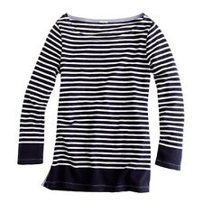*$45 J. CREW Sailor Boat-neck Tee in Stripe size large womens navy blue L