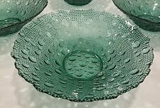 Modern Art Deco Green/Teal Hobnail/Bubble Pattern Glass Centerpiece Bowl EXC��