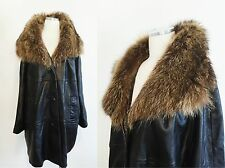 vtg 60s black LEATHER SWING COAT large RACCON FUR collar OVERSIZED drape SZ M L