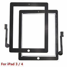 For iPad 3 4 Black Touch Screen Digitizer Front Glass Replacement Part MZSK