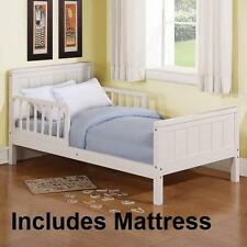 Wood Toddler Bed White ** WITH MATTRESS ** Child Kids Furniture Beadboard Wooden