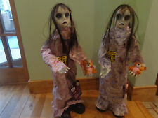 2.5Ft Halloween Party/Prop Twin Bloody Girls/red Eyes/Lights/sound/Moving/teddy