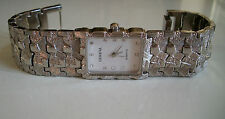 Geneva Silver Finish Nugget style bracelet fashion Unisex watch