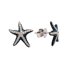 14K WHITE GOLD MICRO PAVE BLUE DIAMOND STARFISH SEA STAR FISH STUD EARRINGS