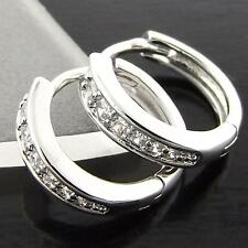 A002 GENUINE REAL 18K WHITE G/F GOLD DIAMOND SIMULATED GIRLS HOOP EARRINGS