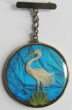 *ANTIQUE DOUBLE SIDED FEATHER BUTTERFLY WING EGRET HERON BIRD DANGLE PIN*