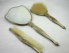 Vintage Silver Plated Vanity 3 Piece Set Mirror, Brush & Comb
