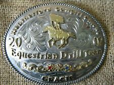 WEATHERFORD COWGIRL Western EQUESTRIAN DRILL TEAM 2002 3 STONE BELT BUCKLE