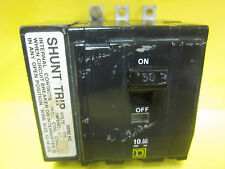 SQUARE D 3P 50A QOB350 VH1021 CIRCUIT BREAKER  WITH SHUNT TRIP .......   YA-107