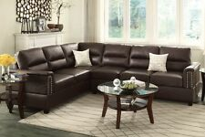 Reversible Loveseat Wedge Couch Sectional Sofa Trim Bonded Leather Espresso
