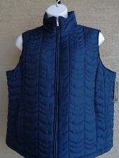 Jane Ashley Woman Plus Size Lighter Weight Quilted Zip Front Vest 3X Navy