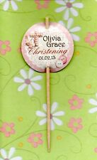 12 LUXURY PERSONALISED CHRISTENING BAPTISM CUP CAKE FLAG Pick Topper Decoration