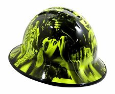 Custom Hydro Dipped VENTED Full Brim Hard Hat 'Day of the Dead' (Lime)