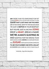 Fall Out Boy - Sugar We're Going Down - Song Lyric Art Poster - A4 Size