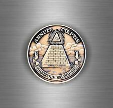 Sticker decal car moto annuit coeptis illuminati pyramid eye of providence see