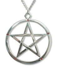 Silver Pentacle with Red Crystals Medieval Renaissance Pendant Necklace NK-516