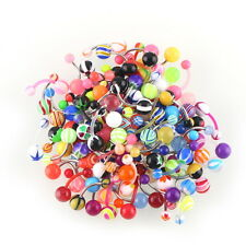 100x Ball Mixed Belly Button Rings  Navel Bars Barbell Body Piercing Acrylic