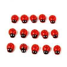 100x Mini Wooden Ladybugs Fridge Stickers Ladybird Garden Cabochon Scrapbooking