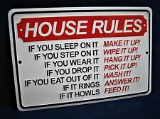 HOUSE RULES - *US MADE* Embossed Metal Tin Sign - Man Cave Garage Bar Kitchen