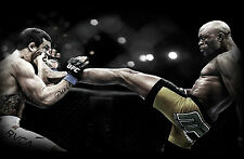 Framed Print - Anderson Silva Kicking Vitor Belfort in the Face (Picture UFC MMA