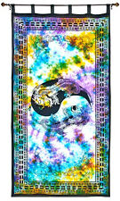 Twin Dragon Tapestry Curtan Purple Tie Dye Wall Hanging, Door-Window Curtain