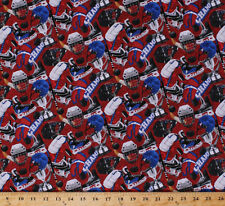 Power Play Hockey Gear Equipment Red Sports Cotton Fabric Print by Yard D659.12
