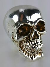 Collectible SHINY SILVER FINISH SKULL Handpainted Resin Statue SKULLS DECOR
