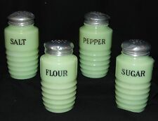 Jeannette JADEITE *RIBBED 4PC RANGE SET *SALT* PEPPER *FLOUR* SUGAR *SHAKERS*