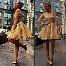 Long Sleeve Short Lace Formal Evening Prom Gown Party Dress Custom Size 2016 New
