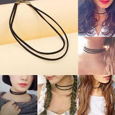 Edelstahl Halsreif Halsband reihig Seil Halskette schwarz Draht Collier Simple