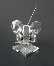 "Swarovski Crystal MOUSE on Pedestal~Black Bead Eyes, Nose~Flexible Tail~2.5"" Tal"