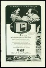 Original 1947 full page ad for Du Mont Teleset Televison w/ creepy clowns!
