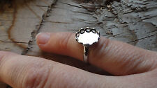 Little Ring Rhodium Silver Plated Adjustable 8x10mm Lacy Bezel (Pk 6) 0306Childs